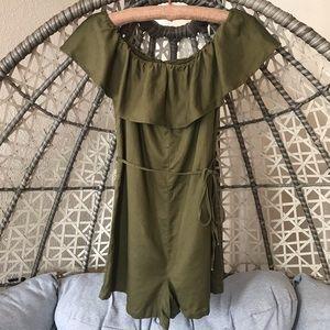 Zara Off Shoulder Romper - Olive